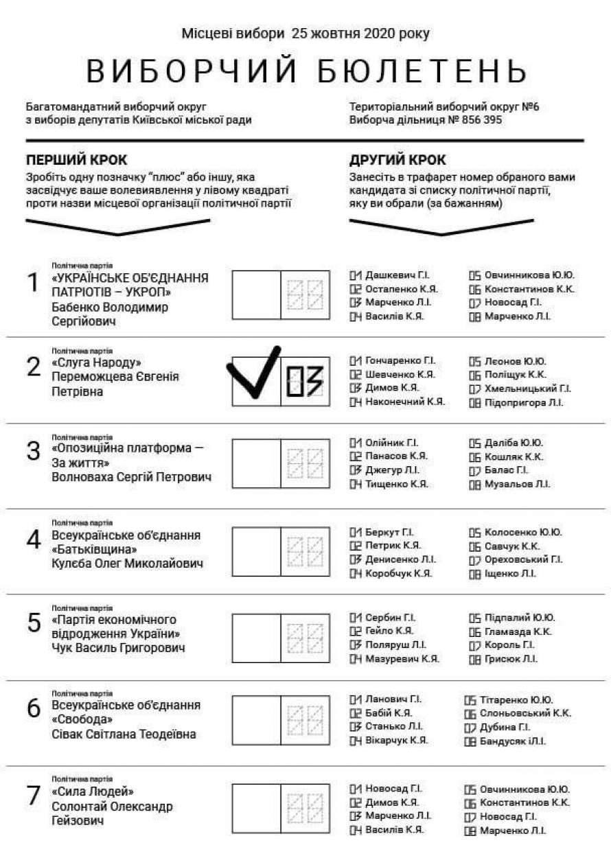 В Верховной Раде показали, как будет выглядеть бюллетень на местных выборах